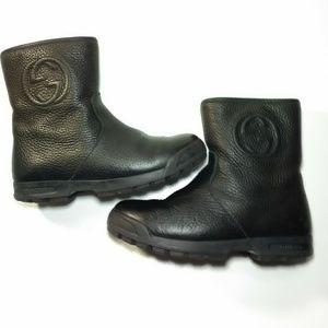 Gucci Leather Sherpa Lined Winter Boots